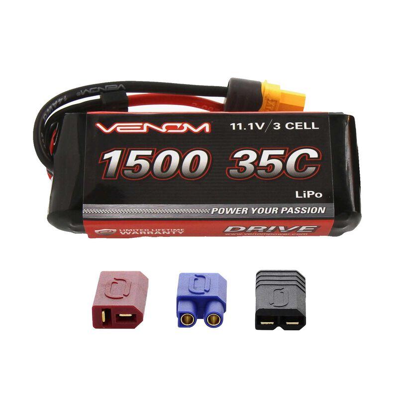 11.1V 1500mAh 3S 35C DRIVE LiPo Battery: UNI 2.0 Plug