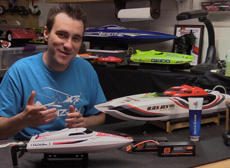 Picture of a RC boats on a workbench