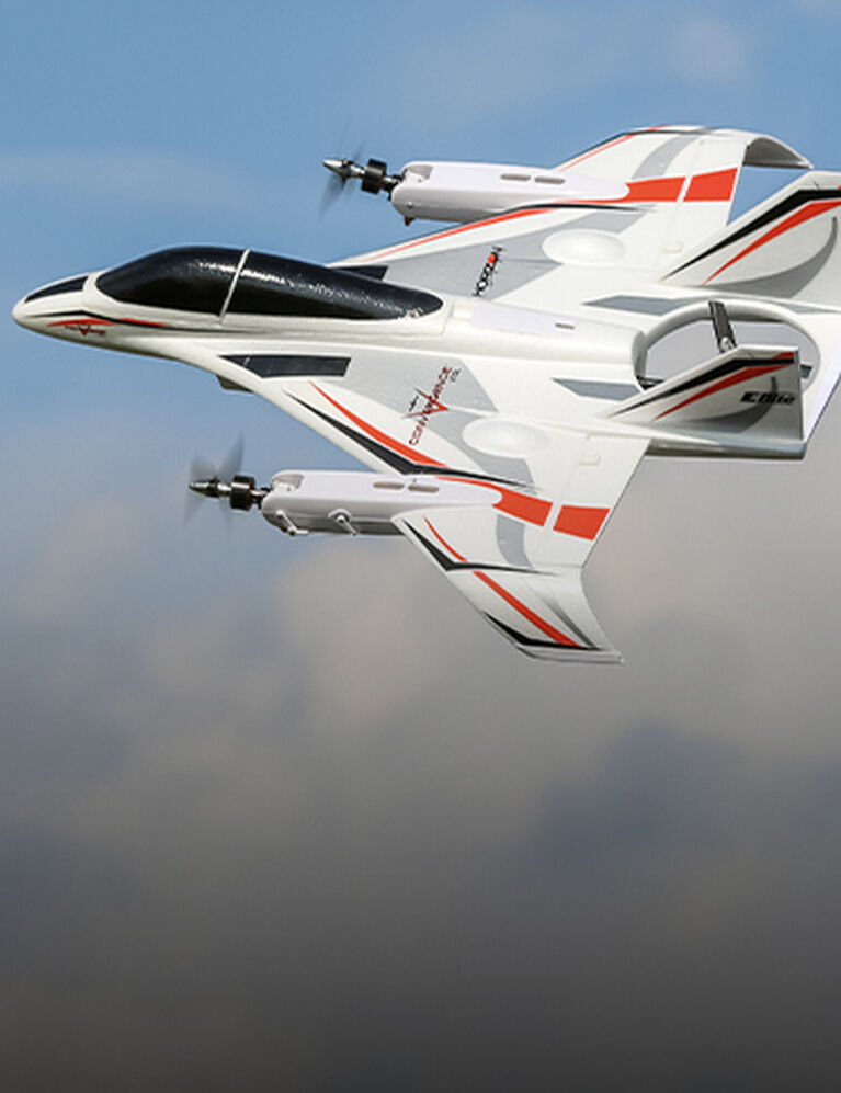 RC Airplane Convergence VTOL in flight glamour shot