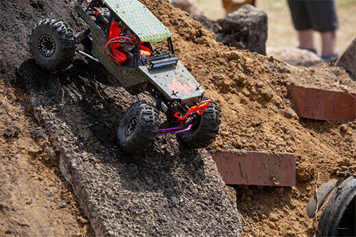 An Axial RC vehicle heads down the obstacle course at RC Fest 2019.