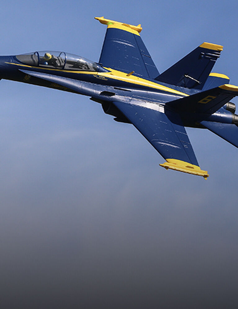 F-18 Blue Angels 80mm EDF RC Jet Airplane in mid flight