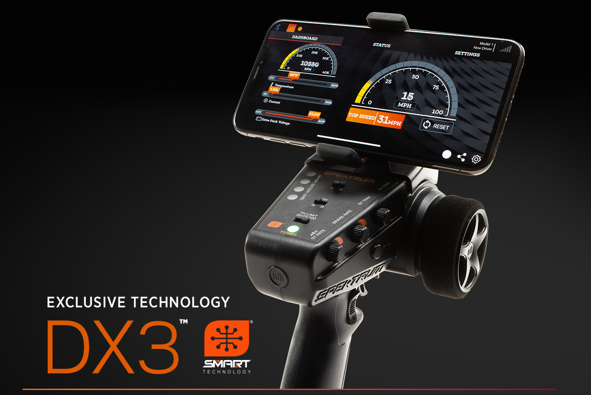 Exclusive DX3™ Smart Technology: Radio with mobile device mounted to it displaying the Dashboard app.