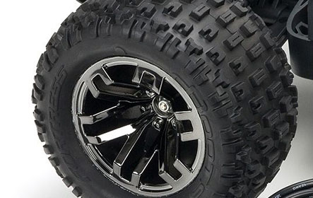 dBoots® FORTRESS SCT Multi-terrain Tires on Black Chrome Multi-spoke Wheels