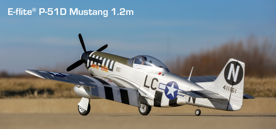E-flite® P-51D Mustang 1.2m BNF Basic RC Airplane