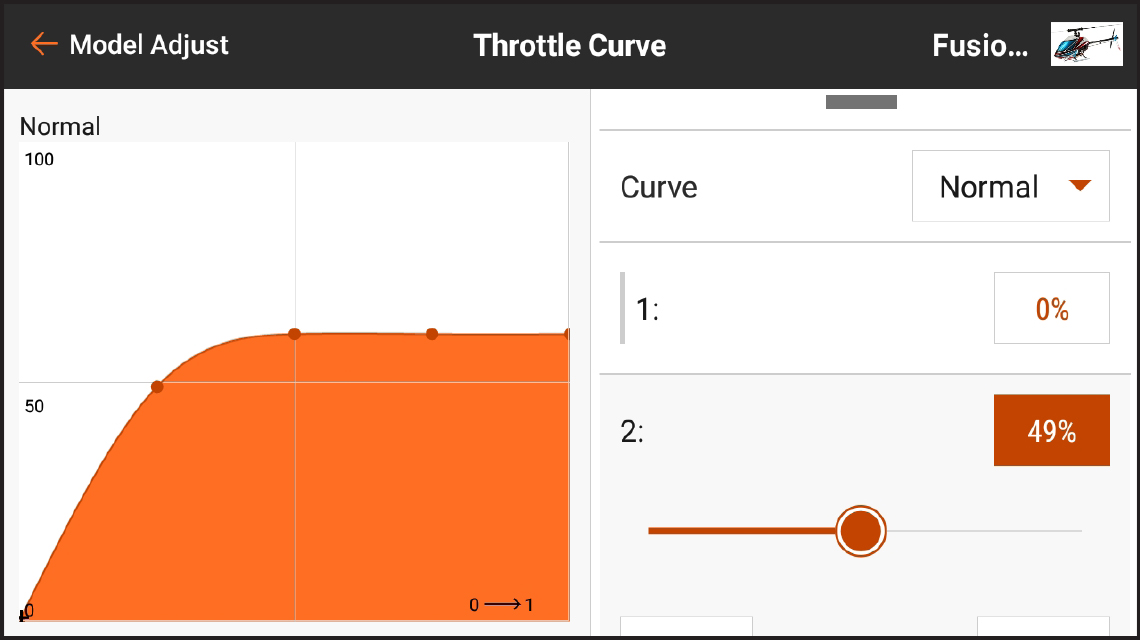 AirWare™ Touch app Throttle Curve