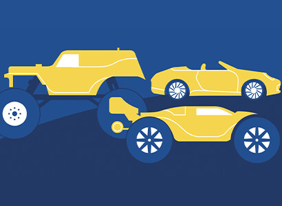 Vector art of an RC cars and trucks
