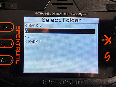 """Upon returning to the """"SD Card Menu"""", scroll up to Options and select Import Model."""