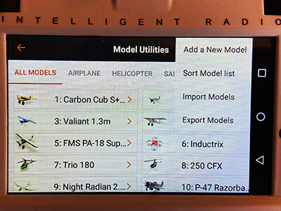 A picture of the 'Model Utilities' screen.