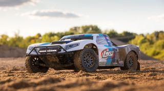 example product: Losi 1/5 5IVE-T 2.0 4WD Short Course Truck Gas BND, Grey/Blue/White (LOS05014T1)