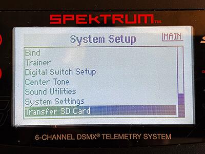 Screenshot: Screen titled 'SD Card Menu'