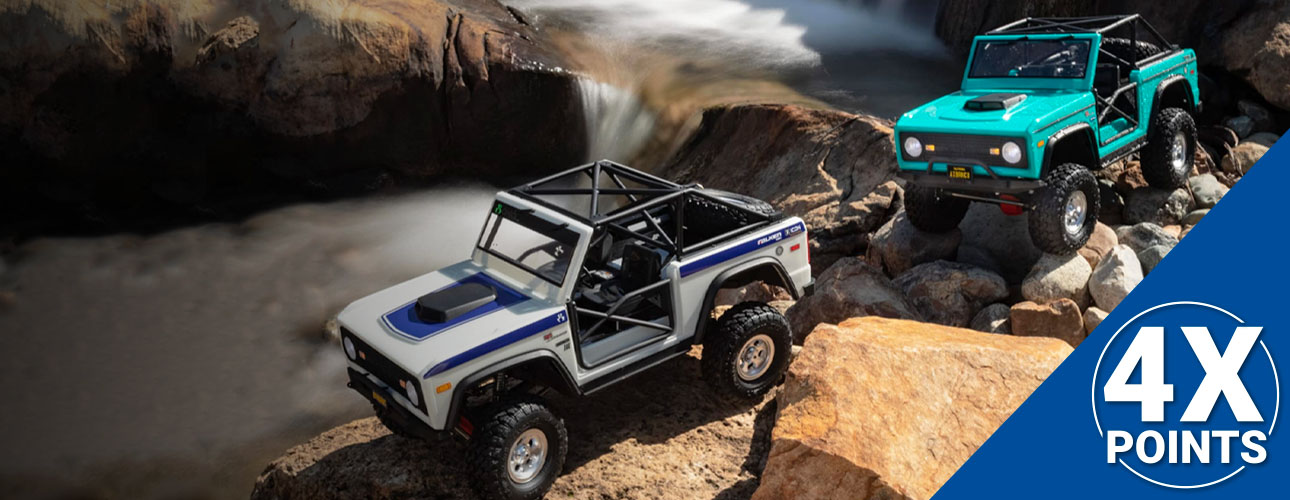 Now through 9/30, all RC Club members earn 4X points on select Axial vehicles. All points earned can be used as discounts towards future purchases! Not a member? Standard membership is FREE to sign up!