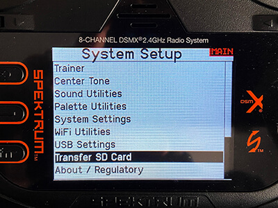 Scroll down and locate the Transfer SD Card options.